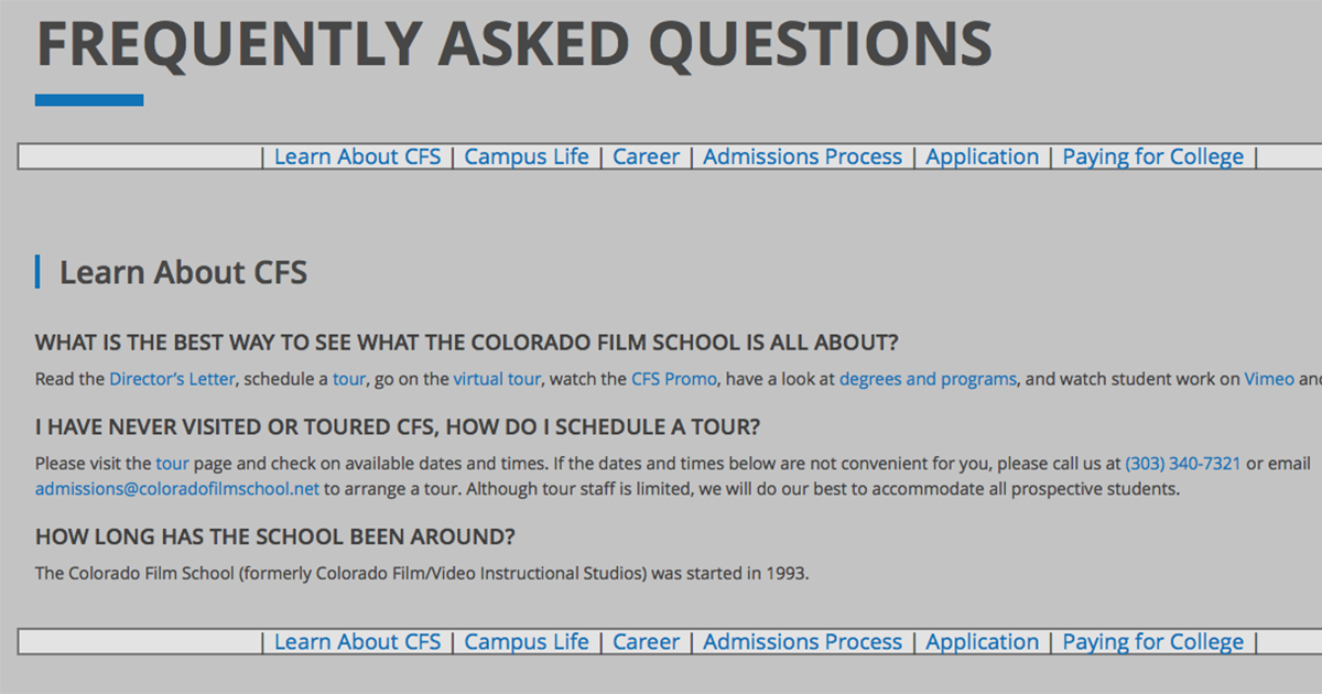 Frequently Asked Questions Colorado Film School